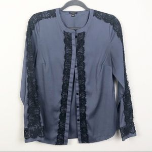 Ann Taylor | Blue Button Down with Lace Accents